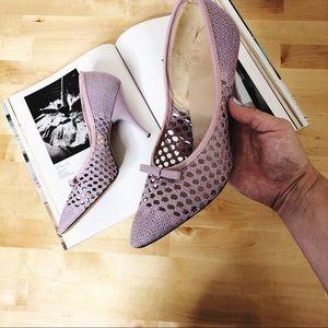 Vintage purple basket weave close toed heels